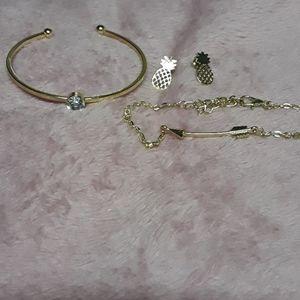 2 bracelets and earring
